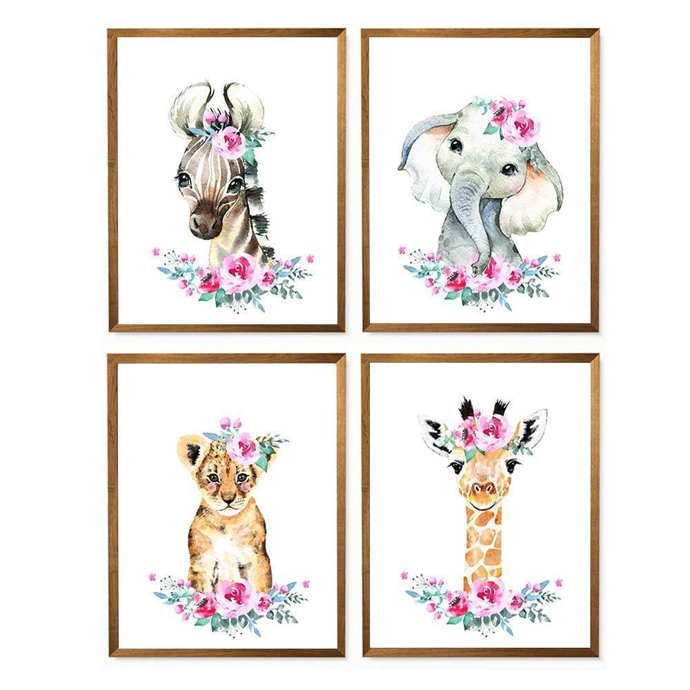 Giraffe Floral Crown Print Giraffe Girl Nursery Decor Jungle Nursery Print Giraffe wall Art Mother/'s Day Gift Mom and Baby Safari Nursery