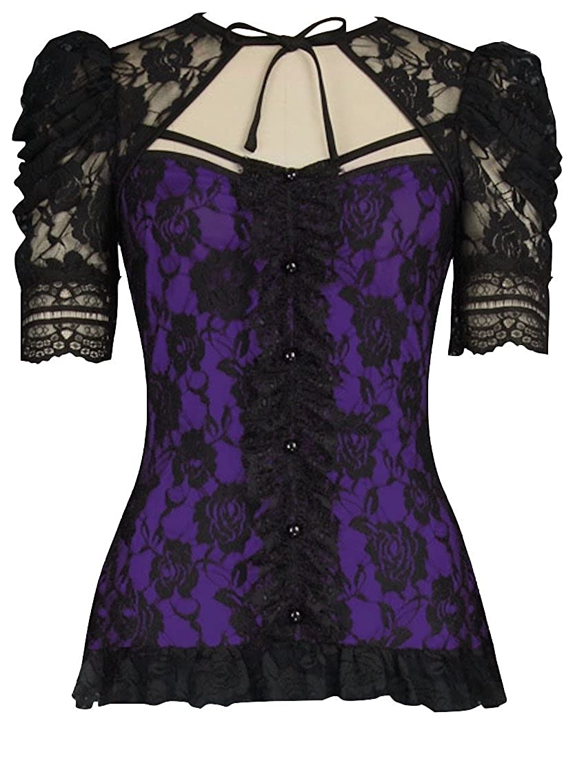 Black Purple Victorian Gothic Steampunk Lace Shirt Top