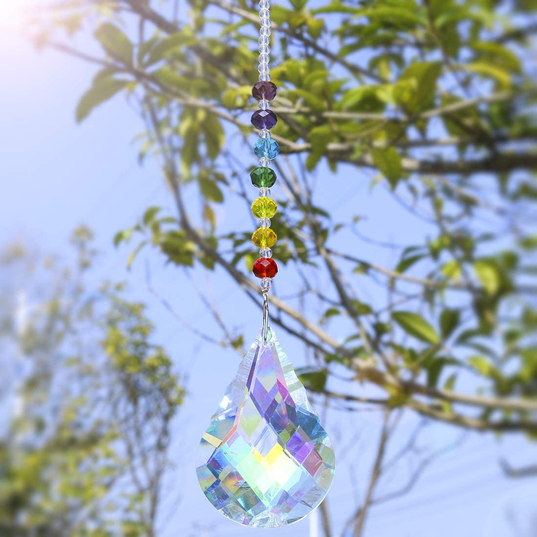 H/&D Chakra Crystal Suncatcher Hanging Window Ornament with 76mm Prism Gourd