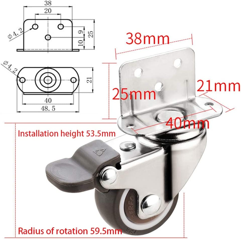 1inch 4 Castors with Brakes Swivel Castors for Furniture Castor Wheels Ball Bearings Swivel Trolley Furniture Caster Splint Casters Baby Cot Flower Stand Casters Wheels Rubber Casters