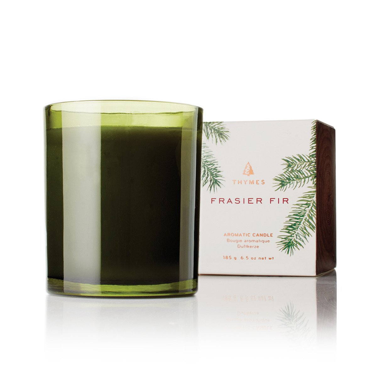 Thymes - Frasier Fir Pine Needle Green Glass Jar Candle with 50-Hour Burn Time - 6.5 Ounces