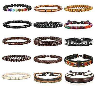 28c0c43e517a Milacolato 8-15Pcs Men Leather Bracelets Hemp Cords Wood Beads Ethnic  Tribal Bracelets Leather Wristbands  Amazon.co.uk  Jewellery