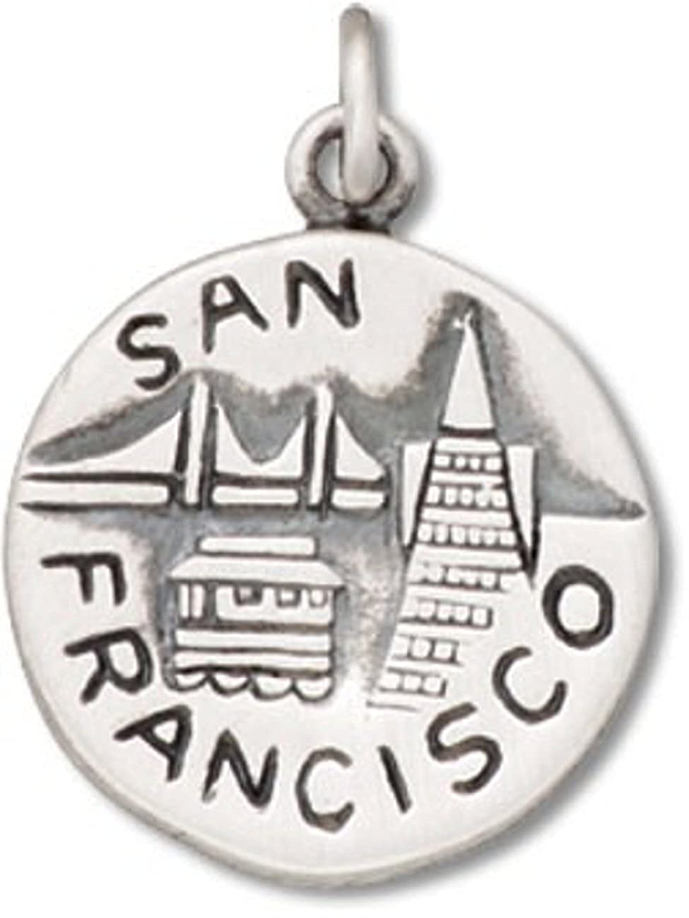 Sterling Silver Girls .8mm Box Chain City Of San Francisco Golden Gate City Two Sided Pendant Necklace