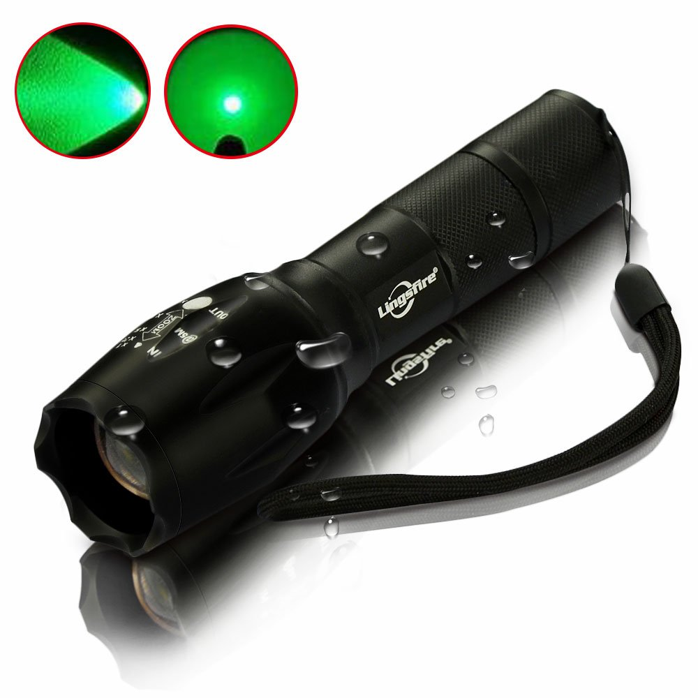 Outdoor Water Resistant Torch Adjustable Focus 18350 LingsFire Portable Ultra Bright Handheld LED Flashlight Zoomable Scalable T6 Flashlight Red+Green+White light RGB 3 Colors Light and 5 Light Modes