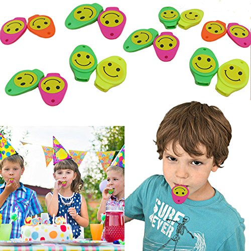 Smiley Face Whistle 24 Pack - Assorted Neon Whistles Party favor Variety Pack - Multicolor Whistles 24 Piece Gift Set | Birthday | BBQ's | Beach | -
