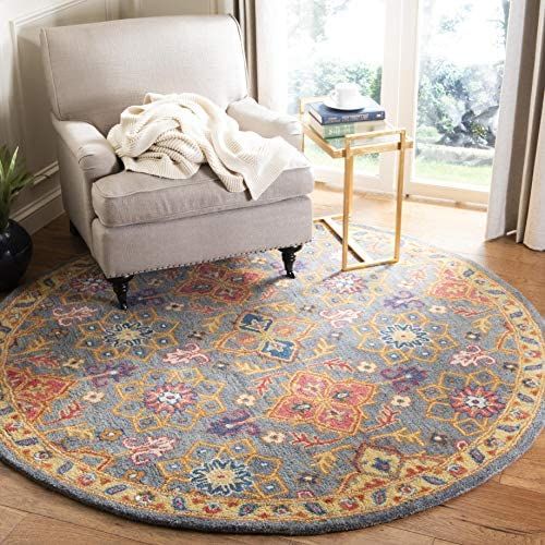 Safavieh Heritage Collection Charcoal and Multi Premium Wool Round Area Rug, 6 Diameter,