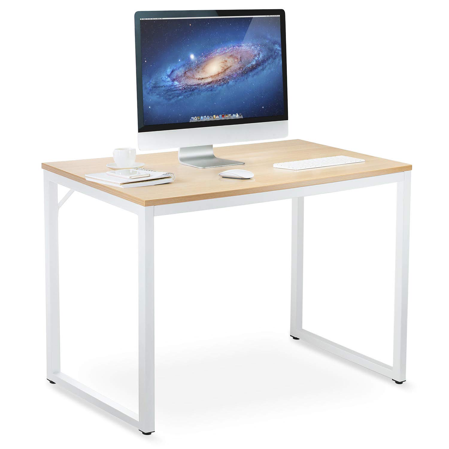 DELLA CASA Compact Modern Home Office Desk - for Computer, Laptop, Tablet, Writing, Student. Beautiful Red Oak Wood with White Metal Legs. 39 x 19 x 29 Inches. Stylish Space Saving Minimal Design by Della Casa