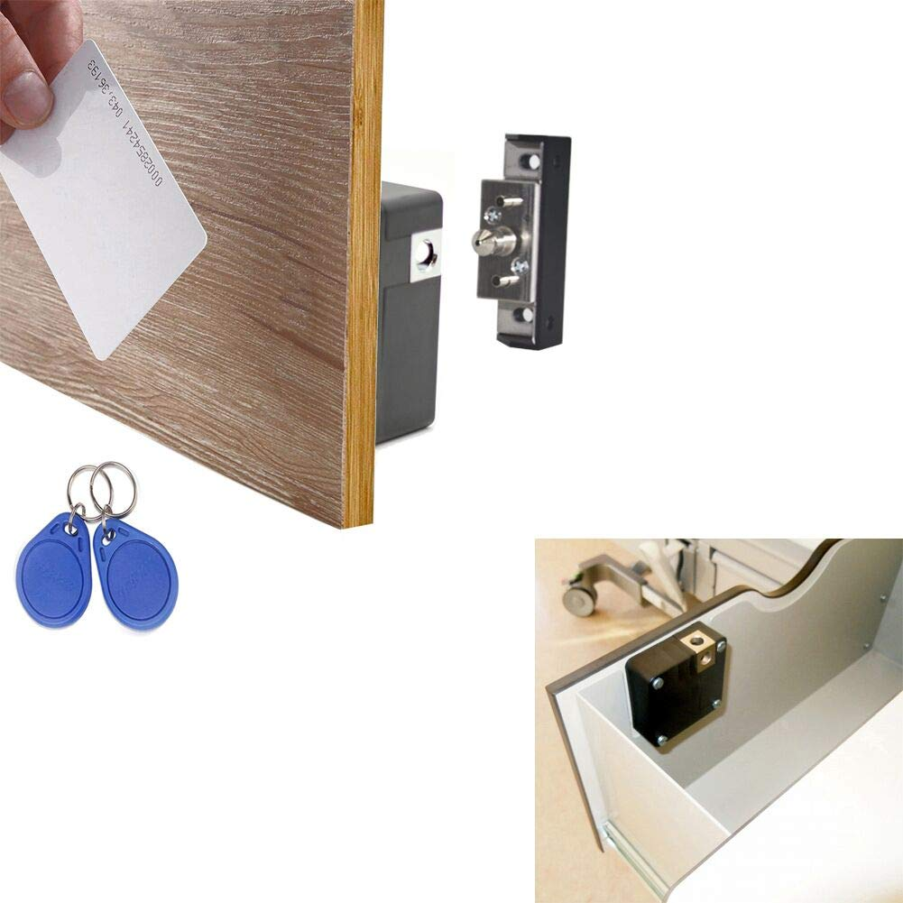WOOCH Electronic Cabinet Lock Kit Set, Hidden DIY Lock for Wooden Cabinet Drawer Locker, RFID Card/Tag Entry
