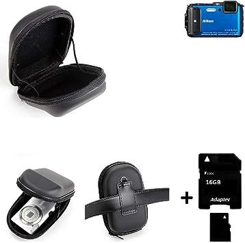 K-S-Trade Compatible con Nikon Coolpix AW130: Caso Duro, Estuche para Cámara Compacta, Bolsa/Funda Rígida con Espacio, Prueba del Choque + 16GB Tarjeta De Memoria: Amazon.es: Electrónica