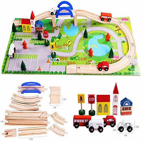 Zhenyu赤ちゃんおもちゃ木製シティトラフィックシーンレール車Disassembly組み合わせ子パズル木製おもちゃ早期教育玩具