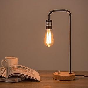 Industrial Desk Lamp, Nightstand Lamp Wooden Base Table Lamp Vintage Bedside lamp for Living Room Bedroom Bedside Office,Black (Bulb No Included)