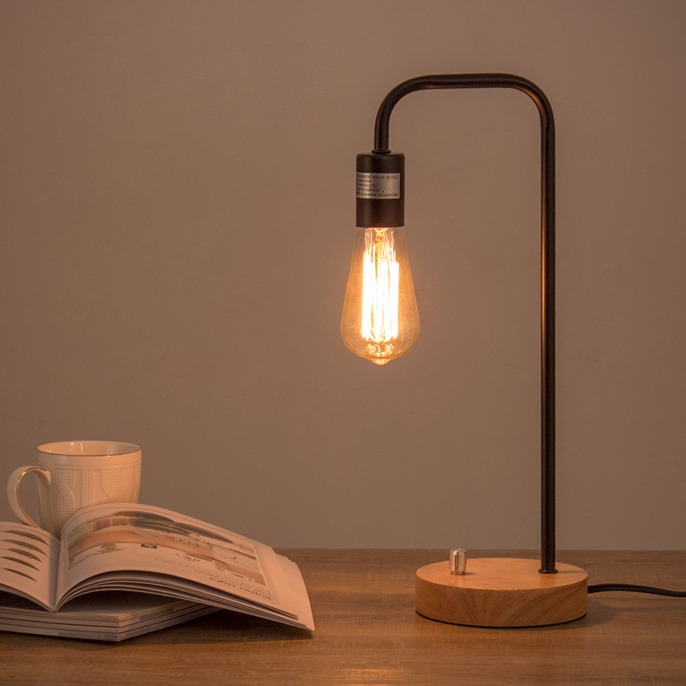 HAITRAL Desk Lamp Wooden Industrial Table Lamp for Office, Bedroom, Living room by HAITRAL (Image #4)