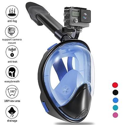 Zenoplige Tauchmaske, Vollmaske Schnorchelmaske Vollgesichtsmaske mit 180° Sichtfeld, Dichtung aus Silikon Anti-Beschlag und