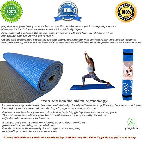 Amazon new year sale 6mm yoga mat with strap and carrying bag 6mm yoga mat with strap and carrying bag 72 x 24 dual texture sides for non slip grip is eco friendly best for exercise fitness pilates workouts 14 tyukafo