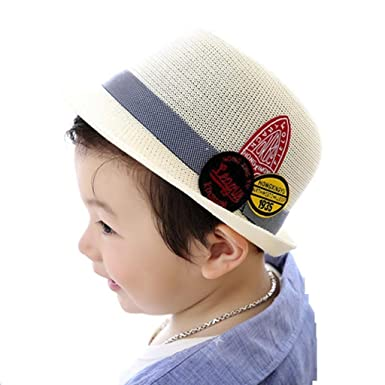 Covermason Enfant Garçon Fille Chapeau de Soleil Panama Classique Broderie  Snapback Hiphop (Blanc) dd0b793df06
