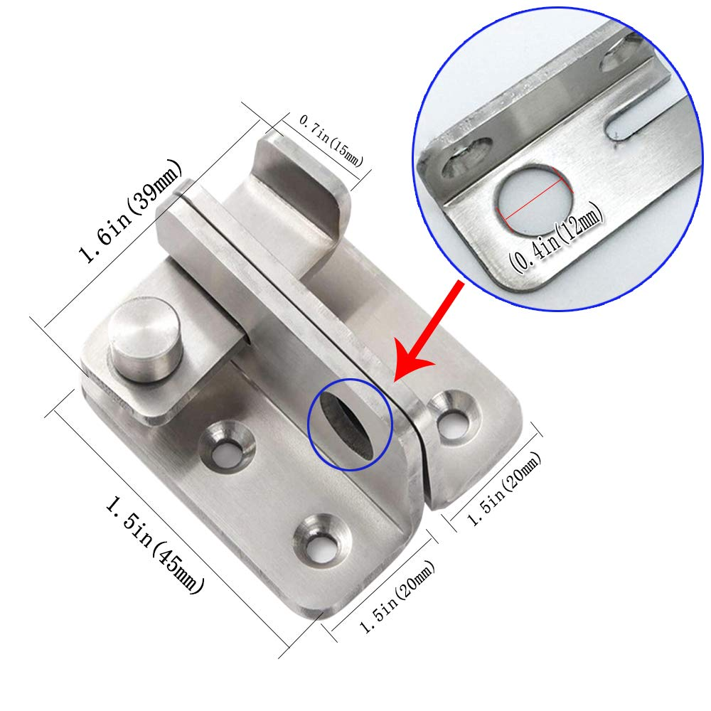 2 x pestillo Flip Latch Gate Cierres Cerradura de puerta de seguridad 40x45mm acabado cepillado de acero inoxidable