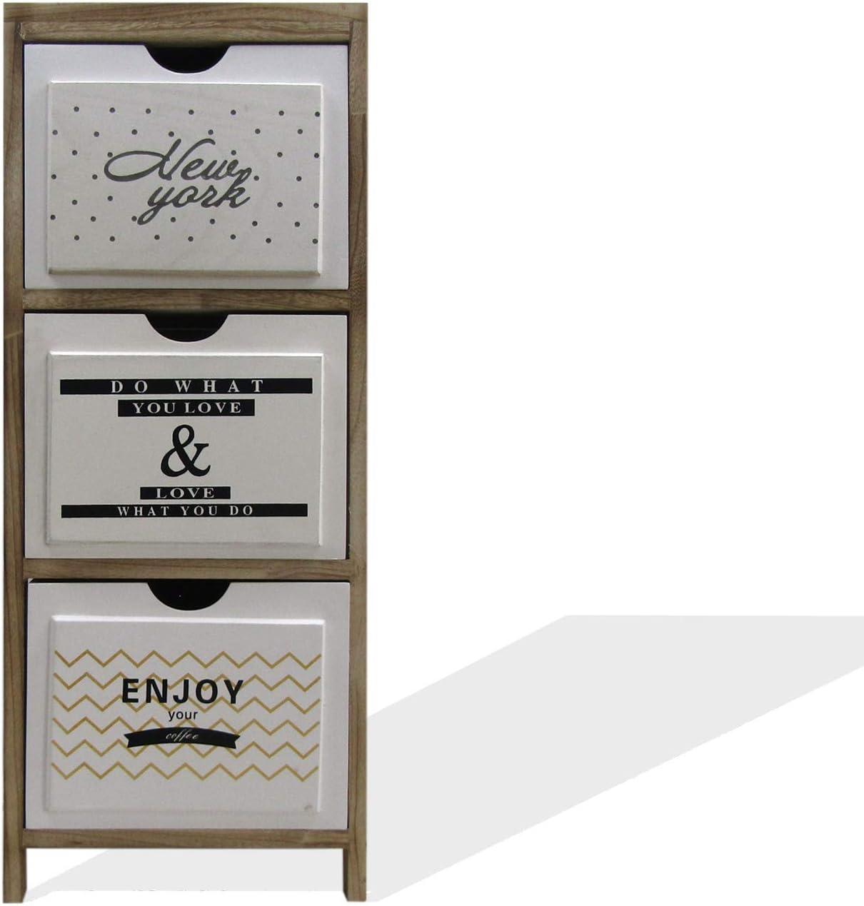 Cassettiera 3 Cassetti Stile Scandinavo - Art Misure: 79 x 30 x 24 cm RE6502 Legno per Arredo Camera Salotto Rebecca Mobili Comodino Stretto Marrone Chiaro Bianco HxLxP
