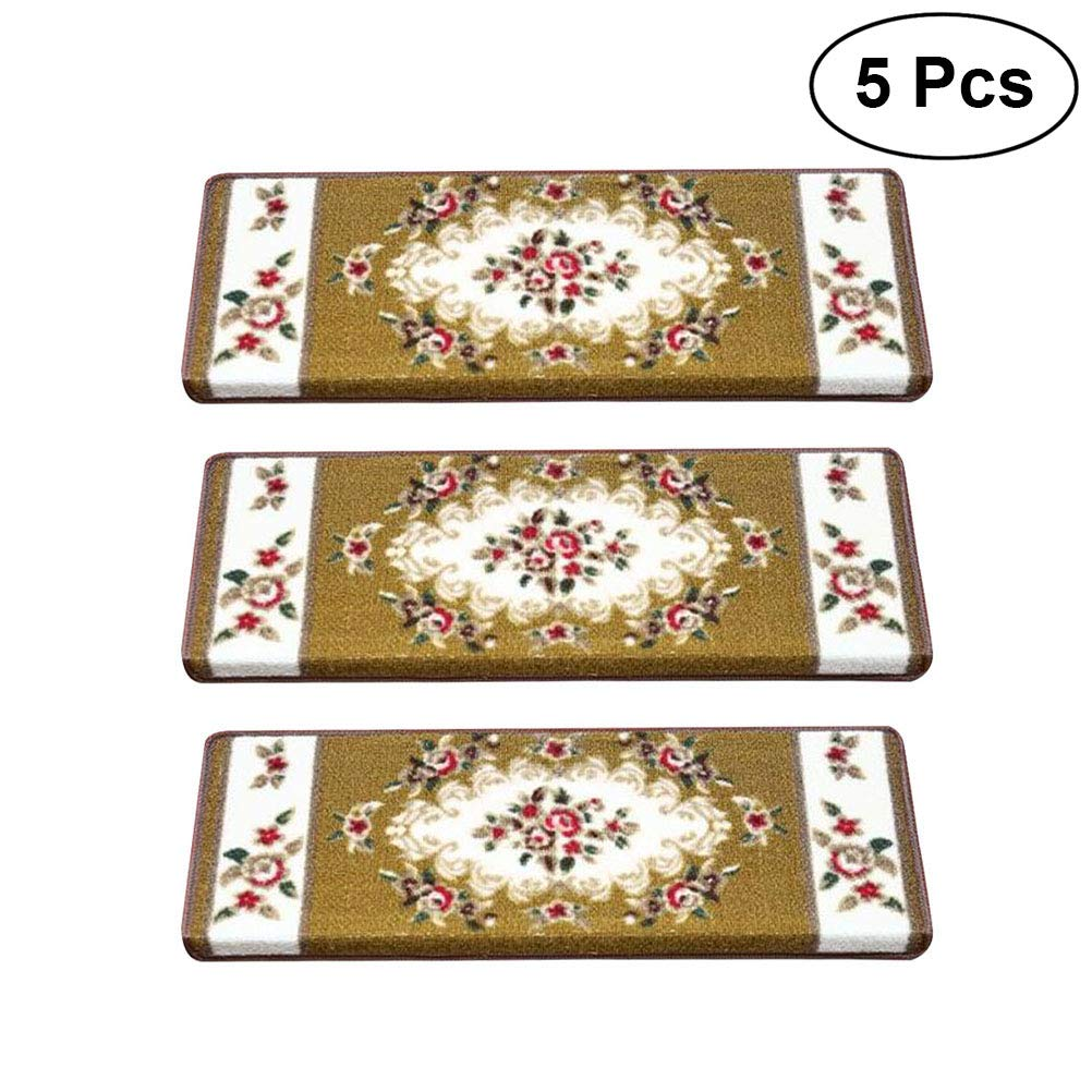 VORCOOL 5 Pcs Classical Non-Slip Stair Treads Carpet Step Mats Anti-Skid Floor Staircase Carpets European Style Protector Mats (Rose01)