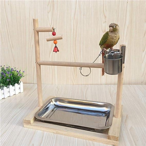 GFEU Parrot Perch Stand - Soporte de Madera con Cuencos de ...