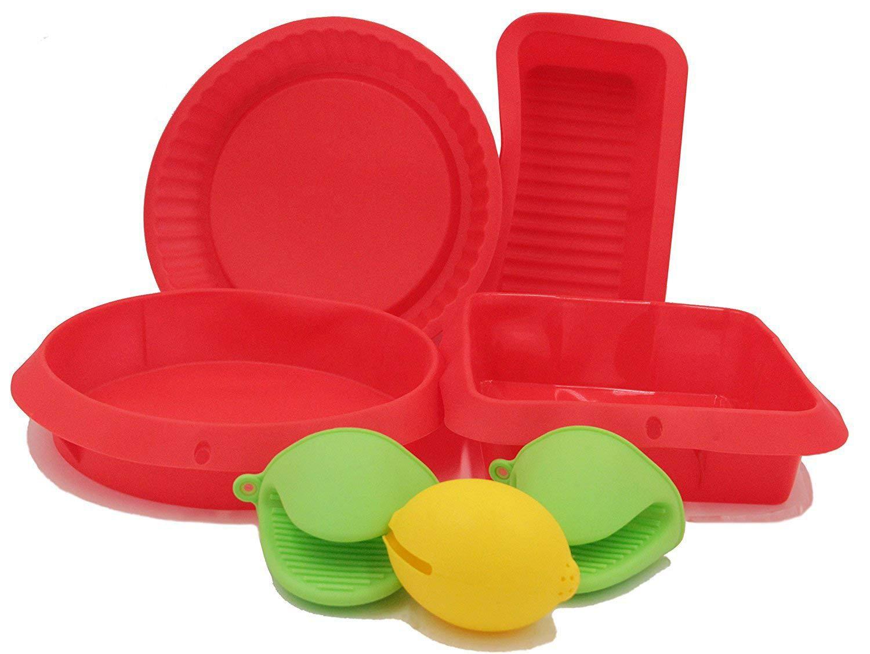Silicone Bakeware Set, KSENDALO 7/pack Non-stick Silicone Bakeware Set with Round, Square, and Rectangular Pans along with Gift of 2 Mini Mitt& Lemon Juicer K-006