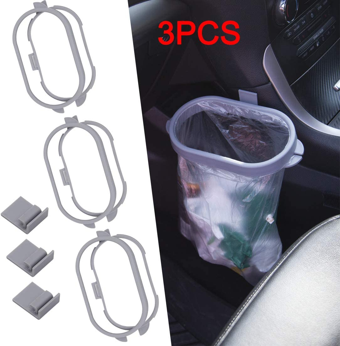 Maremlyn Car Garbage Holder for Car Hanging Trash Can Bracket for Car Front Seat Auto Trash Container for Kitchen, Office 3 PCS (Gray)