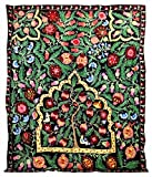 LARGE UZBEK SILK EMBROIDERY TRADITIONAL SUZANI FROM BUKHARA TREE OF LIFE King Size A9727