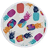 Utopone Round Beach Towel Pineapple Microfiber Circle Beach Towels with Tassels, Large Throw Beach Towel Blanket for Adults Girls(Colorful, 59 Inch)