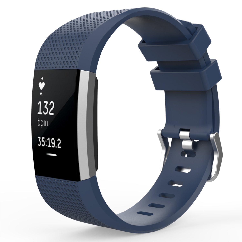 MoKoソフトシリコン調節可能な交換スポーツストラップバンドfor Fitbit Charge 2 Smartwatchハートレートフィットネスリストバンド。 B01J0RXGPE ダークブルー(Midnight Blue)