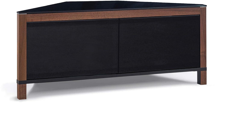 MDA Designs Volans Meuble TV Faisceau Thru Verre Noyer//noir r/éversible Panneau LCD//Plasma//LED 2/portes Meuble TV dangle