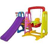 ألعاب قوس قزح 3 في 1 هيكل اللعب في الهواء الطلق مع أرجوحة وكرة سلة لعبة نشاط الأطفال (متعدد الألوان)