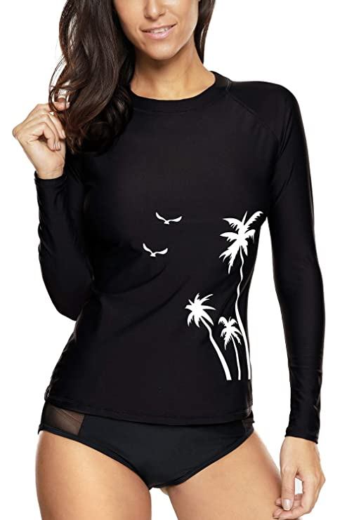 694a3309a5c maysoul Womens Rashguard Long Sleeve Rash Guard Sun Protection Shirt UPF  50+ S