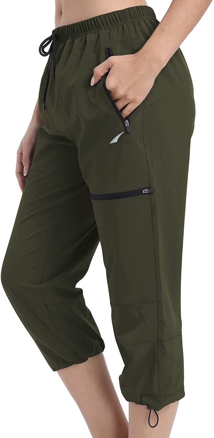 VAYAGER Women's Outdoor Hiking Capri Pants Loose-Fit Lightweight with Zipper Pockets