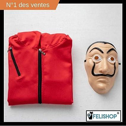 4b8fce1460a7d3 FELISHOP Déguisement CASA de Papel, Masque Dali Offert + Combinaison  (Taille S, M, L, XL, XXL) Officiel® (M)