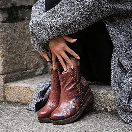 Da Stivali inverno Martins New Donna Coffee Spesso Stampa Retro Vento Tacchi Stivaletti National Fondo Comfort Red Scarpe Altezza Con Pelle Autunno stivaletti Donna Color Hy 1Iq5dq
