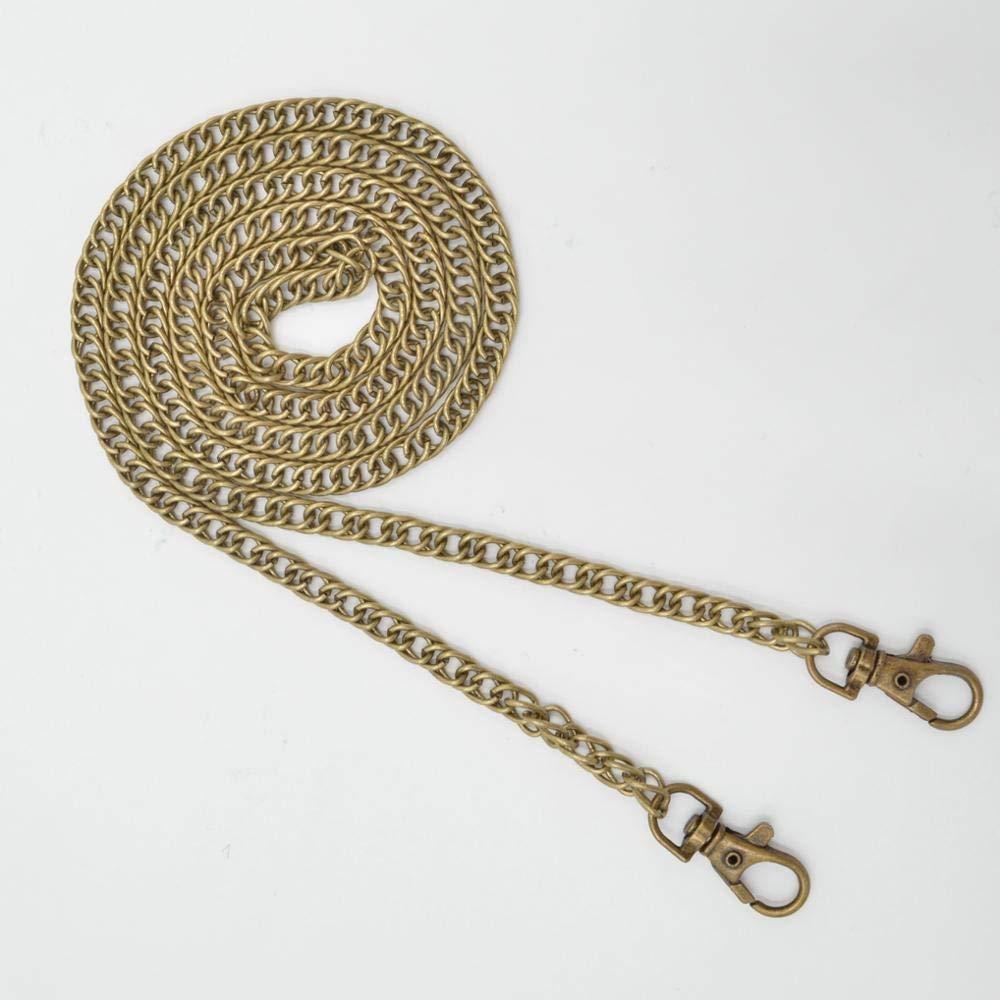 Tangyongjiao Home Decorative Supplies 10 PCS Metal Chain Shoulder Bags Handbag Buckle Handle DIY Double Woven Iron Chain Belt 120cm(Chrome Black) (Color : Light Gold) by Tangyongjiao