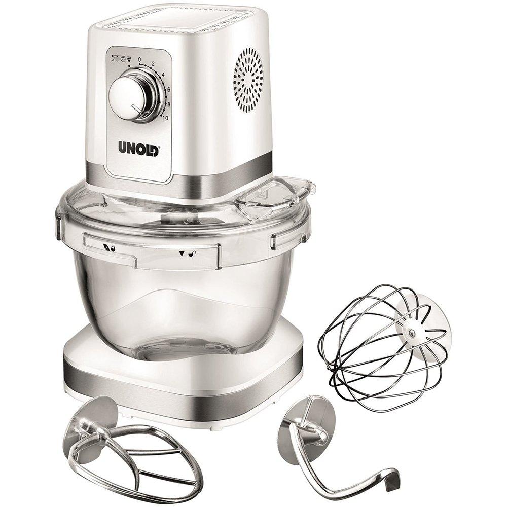 Unold 78525 Robot da Cucina Chef, Ciotola in Vetro, 4 litri, planetaria, chiusura a baionetta, 600 W, Bianco 4litri 600W