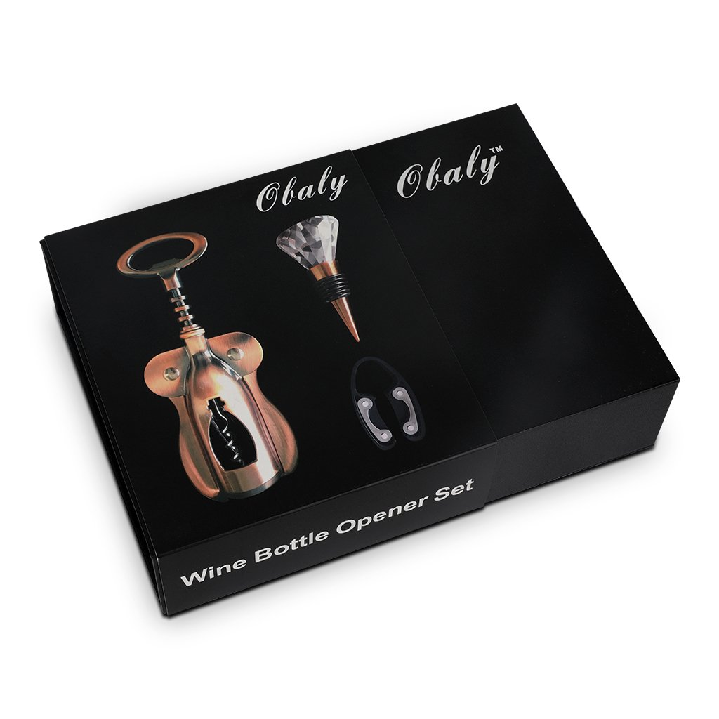 OBALY Includes Wing-Style Corkscrew with Bottle Opener End,Foil Cutter Stopper,Wine Set Gift, Gold