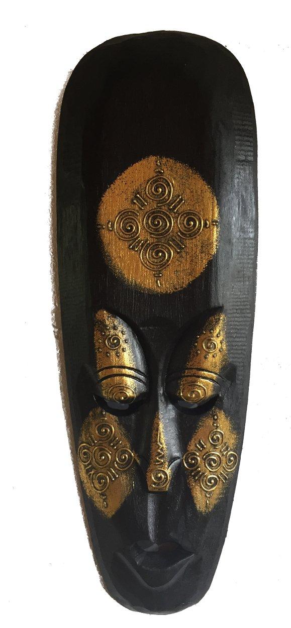 Comercio Justo Talla A Mano Estilo Indígena Africano Tribal Borneo Dorado Máscara 40cm largo, 16 cm ancho: Amazon.es: Hogar