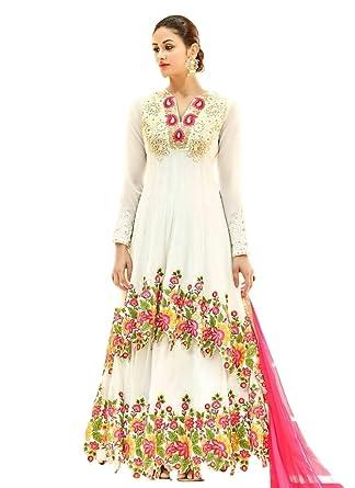 71f8c42fa0a Amazon.com: Ethnicwear FlowerWork Designer Embroidered White Coloured Net  Resham Work Full Length Anarkali Dress: Clothing
