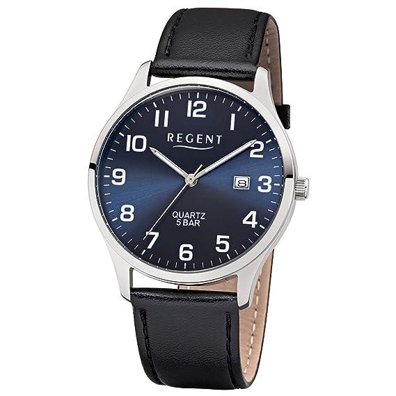 Regent Reloj de pulsera elegante Analog de piel para hombre de pulsera Negro Reloj de cuarzo esfera azul ur1113409: Regent: Amazon.es: Relojes
