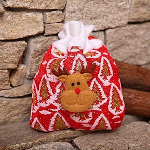 Liyue-ornament 20.5X 24 cm Weihnachts Neujahr Burst Kordelzug Geschenk-Süßigkeit Einkaufstasche Sankt-Schneemann Elk Apple-Tasche Kindergarten Aktivität Verpackungs-Beutel (Color : A)