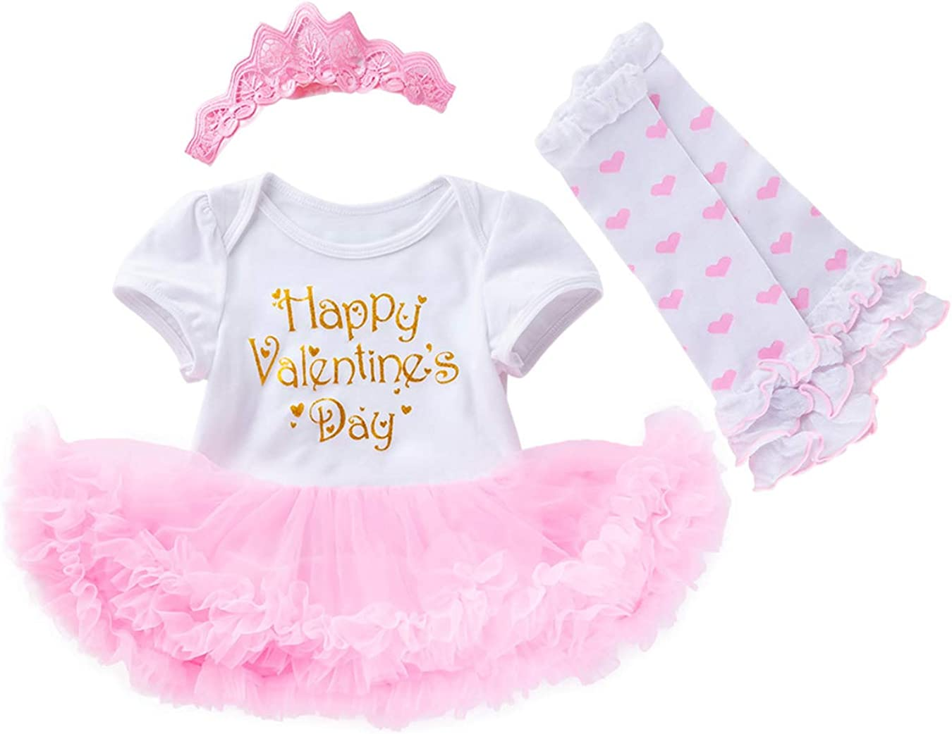 Baby Girl First Valentines Day Outfit Cute Lace Tutu Skirt Set