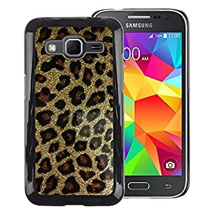 A-type Arte & diseño plástico duro Fundas Cover Cubre Hard Case Cover para Samsung Galaxy Core Prime (Gold Bling Glitter Leopard Pattern Fur)