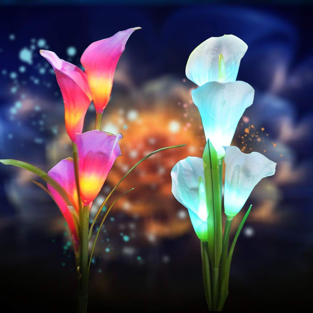 2 Pack Solar Flower Lights, Outdoor Solar Flower RGB Landscape Lights with 8pcs Calla Lily Flowers, Auto Multi-Color Changing Solar Flower Garden Lighting with Spike for Lawn, Backyard (Purple/White) by Unipure