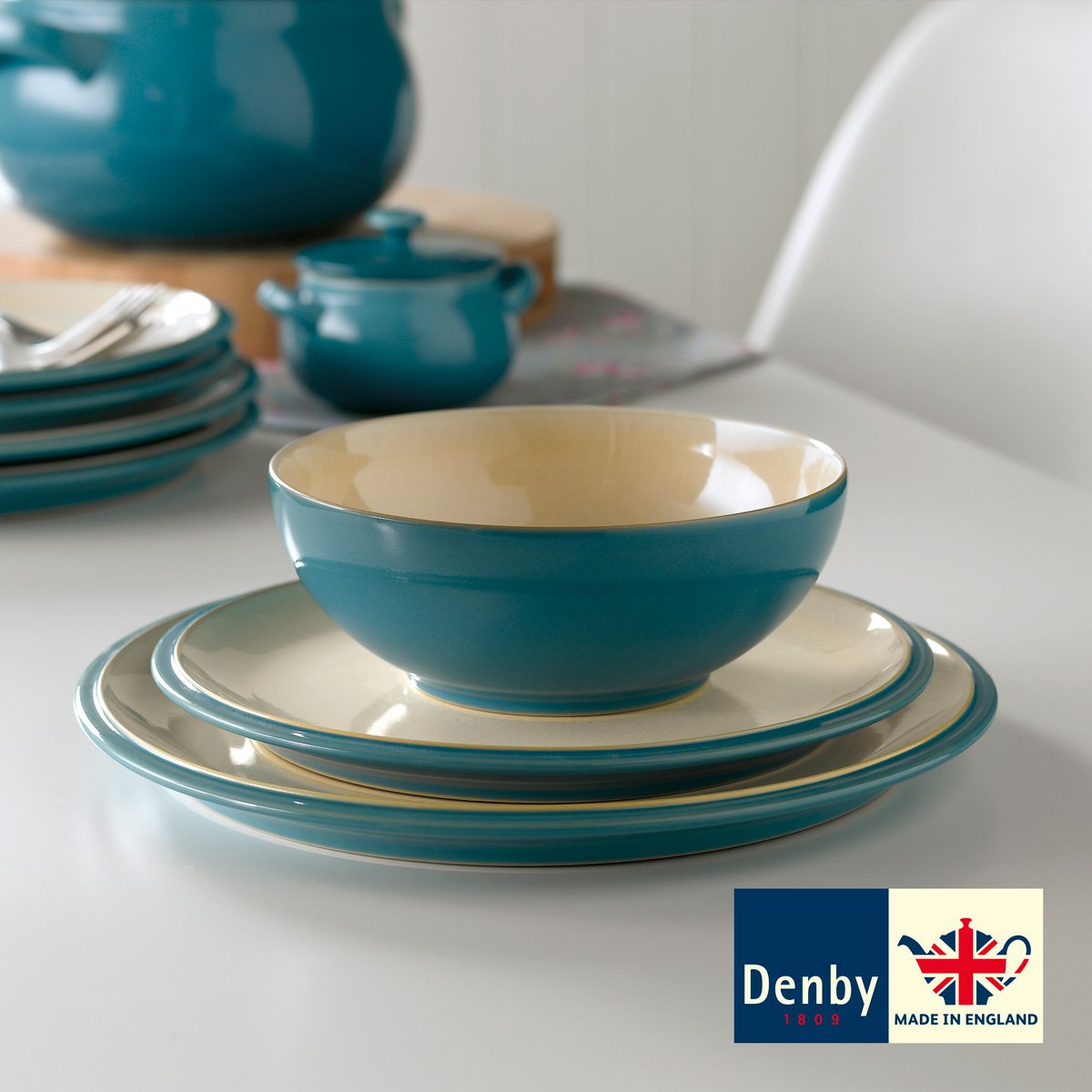 Denby Cook \u0026 Dine 12 Piece Dinner Set - Turquoise Amazon.co.uk Kitchen \u0026 Home & Denby Cook \u0026 Dine 12 Piece Dinner Set - Turquoise: Amazon.co.uk ...