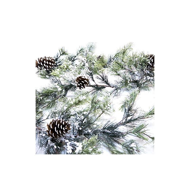 silk flower arrangements craftmore snowville pine christmas garland, 72 inch