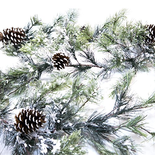CraftMore Snowville Pine Christmas Garland, 72 Inch (Decorations Christmas Snowy)