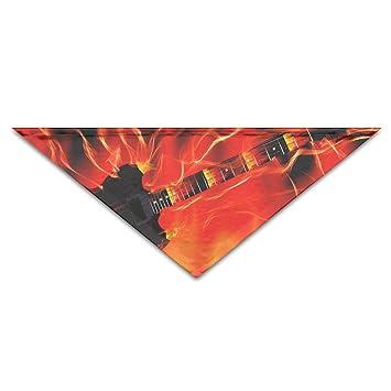 Amazon Coolbis Dog Bandana Scarf Triangle Bibs Guitar Fire Red