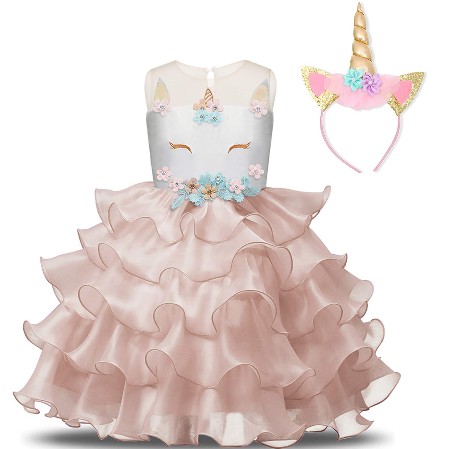 NNJXD Girl Unicorn Flower Ruffles Cosplay Costume Pageant Party Princess Dress