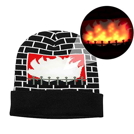 Luwint LED Burning Fireplace Beanie hat Funny Fire Flashing Glow Christmas  Costume Knit Cap with 2 06a6de737f68